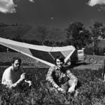 Bob Holliston, Alba Bartholomew, and Garland Wyatt in the alfalfa field near Pitt, Washington, on Route 142 (photograph by Heat-Moon, 1978, BLUE HIGHWAYS, courtesy of Heat-Moon and Little, Brown and Company) (BH 233-38)