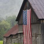 Stars and Stripes on a Vermont Barn, Route 107 (BH 323)